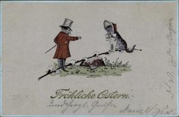 CPA Glückwunsch Ostern, Vermenschlichte Katzen, Weidenkätzchen - Sin Clasificación