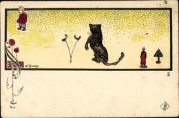 Artiste Passepartout Ak, Weinendes Kind, Spielzeug, Katze - Sin Clasificación
