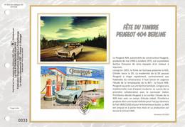 """2020 : """" FDT 2020 : PEUGEOT 404 BERLINE """" Sur Feuillet CEF 1er Jour Sur Soie N° YT F5391. Parfait état FDC - Autos"""