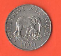 Tanzania 100 Scellini Shilingi 1986 Elephant  Nickel  Coin - Tanzanía