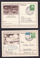 Germany: 2x Stationery Illustrated Postcard, 1955-59, Heuss, Lernt Deutschland Kennen, Airport, Messe (traces Of Use) - Covers & Documents