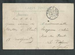 Timbre à Date Ambulant Paris à Dijon1 Brigade H Sur Carte Postale Pour Le Vigan (Gard) - Spoorwegpost