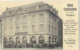 Hôtel Continental YPRES Propriétaire Ev. Baete-Tonnon - édit Duhameeuw - Altri