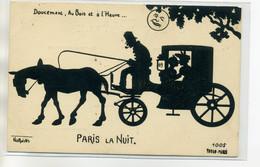 """75 PARIS LA NUIT Carte Rare-  NORWINS Illust """" Doucement Au Bois Et L'Heure"""" Amoureux Fiacre Cocher   /D03-S2017 - Non Classés"""