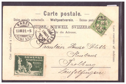 BASEL - II. INTERKANT. PREISWETTFAHREN DES RHEINCLUB 1901 - VIGNETTE GEWERBE AUSSTELLUNG 1901 - TB - BS Basle-Town