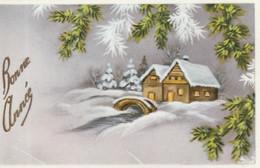 1033 - MIGNONETTE BONNE ANNEE . MAISONS PONT RUISSEAU  BRANCHES DE PIN . PHOTOCHROM 1520 - Neujahr