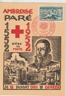 France Carte Maximum 1952 Croix Rouge A Paré 937 - 1950-59