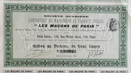 """Sté Ouvrière """"Les Maçons De Paris"""" 1899 - Unclassified"""