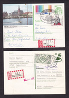 Germany: 2x Registered Stationery Postcard, 1977-81, Extra Stamp, R-label, Castle, Safety, History, R-label (1x Creased) - Covers & Documents