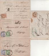 BELGIQUE : 4 LETTRES . AFFRANCHISSEMENT A 30 Cts . DONT 2 PAR AMBlt BRUX - ARL . 1873/74 . - 1869-1883 Leopoldo II