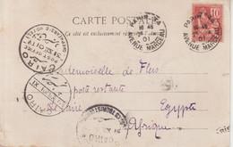 FRANCE : CP . TYPE MOUCHON . ADRESSEE EN POSTE RESTANTE EN EGYPTE . 1901 . - Storia Postale
