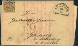 """1863, 9 Kreuzer Ockerbraun Mit OMR """"240"""" Auf Faltbrief Mit HK """"KITZINGEN"""" Nach Sachsen - Bavaria"""