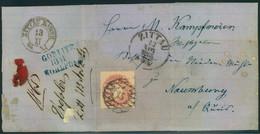 """1865, Frankierter Faltbrief Ab """"15"""" ZITTAU Mit Blauem Bahnpost L3 """"GÖRLITZ - KOHLFURT"""" Nach Naumburg - Saxe"""