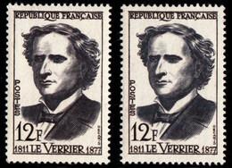 """FRANCE - N°1147/1147a** - URBAIN LE VERRIER (1811-1877) - ASTRONOME. """"GRIS ET GRIS NOIR"""". - Curiosities: 1950-59 Mint/hinged"""