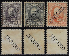 Luxembourg 1899 3 Stamps Grand Duke Adolf Perfin OFFICIEL Official Used - Oficiales