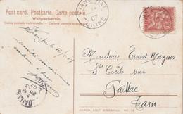 Chine Cachet SHANGHAI 14/2/1907 Sur Carte Postale Shanghai Tea House Nanking Road Pour Gaillac Tarn France Timbre Abimé - Briefe U. Dokumente