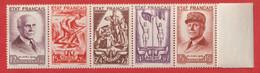 Bande De 5 Timbres N° 576 à 580 Neufs Xx - 1941-42 Pétain