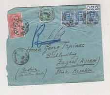 ITALY 1908 GENOVA Registered Priority Cover To Zagreb Croatia Hungary Austria - Storia Postale