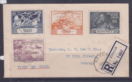 Perlis 1949 UPU Registered FDC TO Penang (L.C.Lee &Co.) - Malaysia (1964-...)