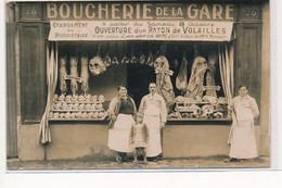 CARTE PHOTO A LOCALISER : Boucherie De La Gare  - Tres Bon Etat - Fotos
