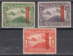 Nicaragua 1935 Yvert 117A**, 118A**, 121A** Neufs Sans Charniere - Nicaragua