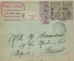 1925 - 25C. SU 45C. SERIE FLOREALE, BLOCCO DI 4 + COPPIA DI 50C. SU LETTERA RACCOMANDATA DIRETTA IN BELGIO - - Marcofilía