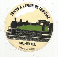 Autocollant ,chemin De Fer , Trainsà Vapeur De TOURAINE , RICHELIEU ,Indre Et Loire - Stickers