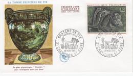 Enveloppe Premier Jour, Marcophilie, La Tombe Princière De VIX Chatillon Sur Seine 29 Mars 1966. - Storia Postale