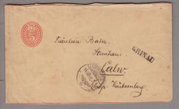 CH Heimat SG Krinau 1885-08-14 (Lichtensteig) Langstempel Auf 5Rp.Streifband Nach Calw BW - Covers & Documents