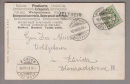 CH Heimat ZH Veltheim 1902-08-19 (Winterthur) Langstempel Auf AK Nach Zürich - Covers & Documents