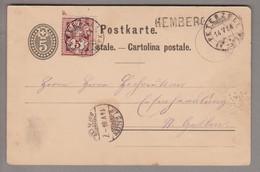 CH Heimat SG Hemberg 1884-05-14 (Peterzell) Langstempel Auf 5Rp. GS + 5Rp. WZ Nach St.Gallen - Covers & Documents
