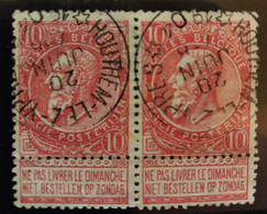 Belgique Oblit. Relais Houthem-lez-Ypres Sur COB N°58 En Paire - Sterstempels