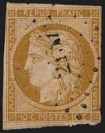 France N°1, Cérès 1850, 10c Bistre-jaune, Oblitéré, Filets Touchés COTE 350€ - 1849-1850 Ceres
