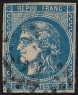 France N°46A, Cérès Bordeaux 20c Bleu Type III Report 1 - B/TB - COTE 200€ - 1870 Ausgabe Bordeaux