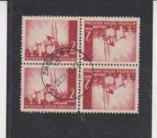 CROATIA SCOTT # 35a Used TETE-BECHE Block Of 4 - 1941 ISSUE CAT $12.50 - Croatia