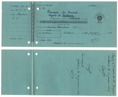 PSEUDO FISCAL  A 50 CENTIMES / 1939 TIMBRE DE COURS D'ECOLE DE COMMERCE SUR CHEQUE BANCAIRE  (ref 8309g) - Fiscale Zegels