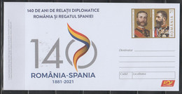 SPAIN - ROMANIA 2021 140 Years Diplomatic Relations Romania - Spain (1881-2021)  Cover Stationery Unused - Sin Clasificación