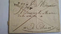 FRANCE - LAC De L'état Civil Avec Marque De Strasbourg En Port Payé Du 28 /10/1818 Pour Le Maire De Colmar - 3 Photos - 1801-1848: Précurseurs XIX
