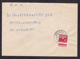 Germany: Cover, 1963, 1 Stamp, Building, Tor, Perforation Curiosity, Rare Cancel Katzwang (traces Of Use) - Lettres & Documents