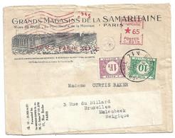 (C14) - EMA MACHINE HAVAS C0213 - LETTRE PARIS 117=> PARIS => BELGIQUE 1937 + TP TAXE BELGES COB N°TX33+TX43 SAMARITAINE - Affrancature Meccaniche Rosse (EMA)