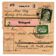Allemagne  //  Colis Postal  //   De Leipzig  //  23-2-44  // Déchirure - Storia Postale