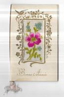 Carte Brodée Tissu Art Nouveau Oiseau Fleurs Dorure Bonne Année 2 Volets - Ricamate