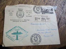 1950 Nantes Exposition Arrophilatie Aviation Lettre Obliteration - 1921-1960: Modern Period