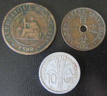 Indochine - 3 Monnaies : 1 Centime 1889 Et 1910, 10 Centimes 1945 B - Colonies