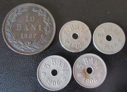 Roumanie / Romania - 5 Monnaies : 10 Bani 1867 + 5 Bani 1905 Et 1906 - Romania
