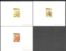 WALLIS & FUTUNA (1979) Flowers. Set Of 3 Deluxe Sheets. Scott Nos 235-7, Yvert Nos 238-40. Colorful! - Imperforates, Proofs & Errors