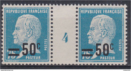 Pasteur N° 219 Surcharge 50c Sur 75c Bleu (177) Millésime 4 Défaut D'impression De La Surcharge Timbre De Droite - Unclassified