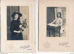 2 Photos CABINET : Portrait D'une Jeune Fille Au Livre - Au Bouquet De Fleur Par ODINOT à Nancy (1917-1919) - Persone Identificate