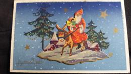 CPA CPSM PERE NOEL SANTA CLAUS NEIGE HOTTE CADEAUX JOUETS ANE SAPINS RELIEF SURIMPRESSION - Santa Claus