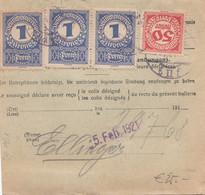 ÖSTERREICH NACHPORTO 1921 - 50 Heller + 3 X 1 Kronen (3xAnk84+Ank82) Nachporto + 40 Pfg + 4 Mk Auf Paketkarte Gelauf ... - Plaatfouten & Curiosa